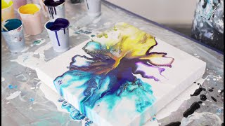 (07) Fluidart Dutch Pour Big Canvas Acrylic painting
