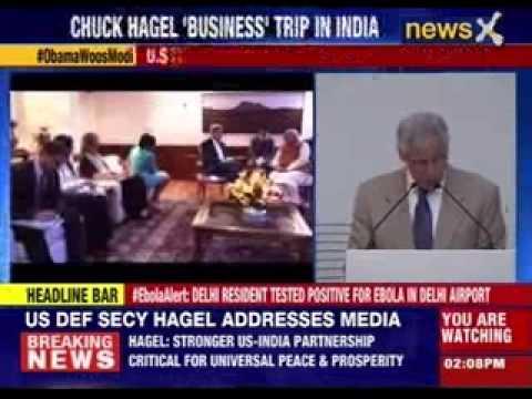 U.S defence secretary Chuck Hagel meets Sushama Swaraj