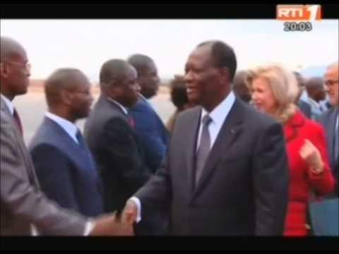 RTI-Arrivée du Président de la République, S E M  Alassane Ouattara, et de son épouse