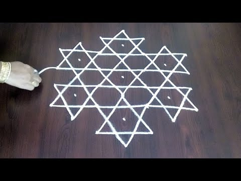 Latest 7 x 4 Star Kolam || Stars With Flower Muggulu Design || Fashion World