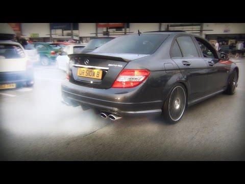 Mercedes C63 AMG TERROR at car meet EPIC Burnouts Hard Revs