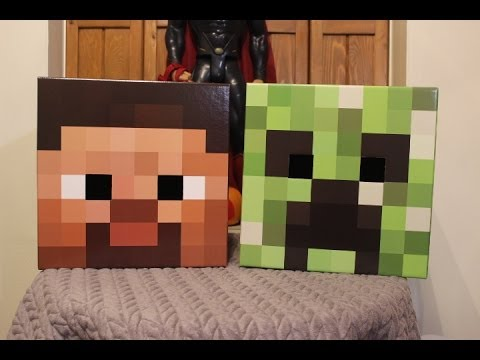 Steve and Creeper Minecraft Cardboard Head Review