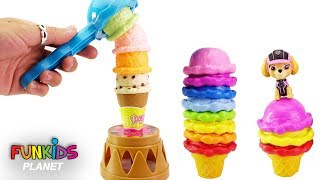 Learning Colors Video for Kids: Paw Patrol Skye & Chase Ice Cream Stacking Tower Balancing Game
