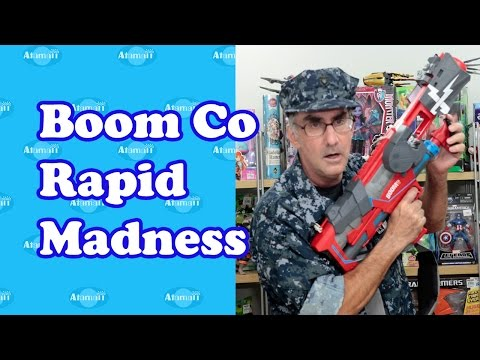 Boomco rapid madness nerf gun review unboxing