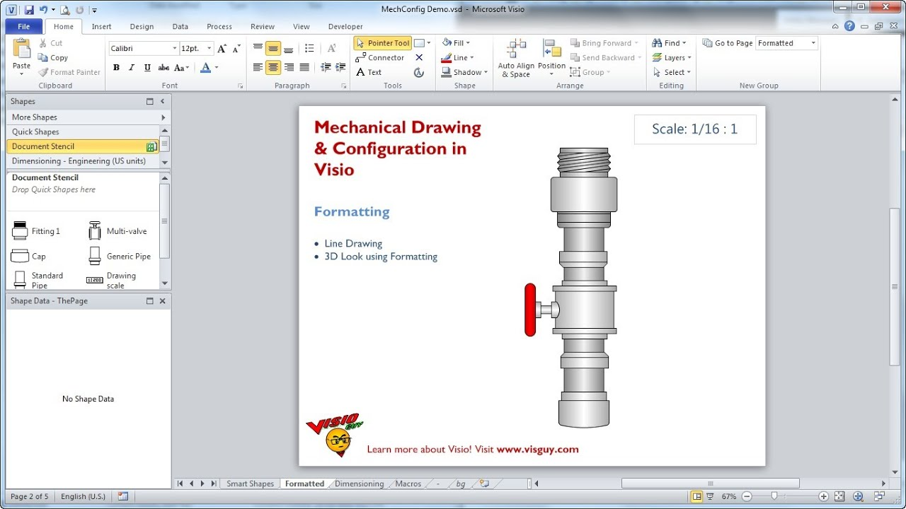 Drawing Lines In Visio : Mechanical drawing configuration in visio youtube