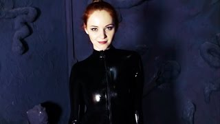 Anna in black catsuit