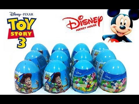 ★6 Toy Story 3 & Mickey Mouse Surprise Eggs Unwrapping Review Easter Egg Toys ASMR
