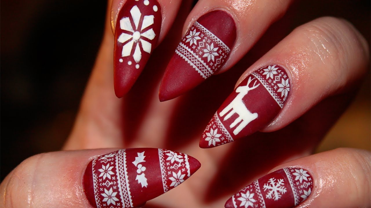 Matte Christmas Sweater Stiletto Nails - YouTube