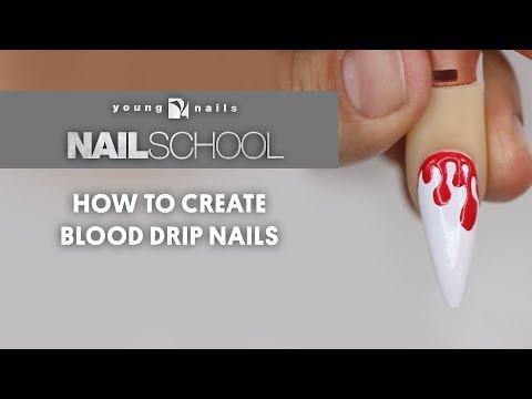 YN NAIL SCHOOL - HOW TO CREATE BLOOD DRIP NAILS