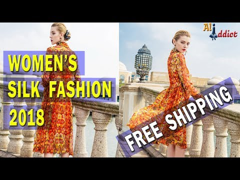 Womens High Quality A-Line Silk Dress 2018 -  Turn-Down Collar Long Sleeve Party Dresses