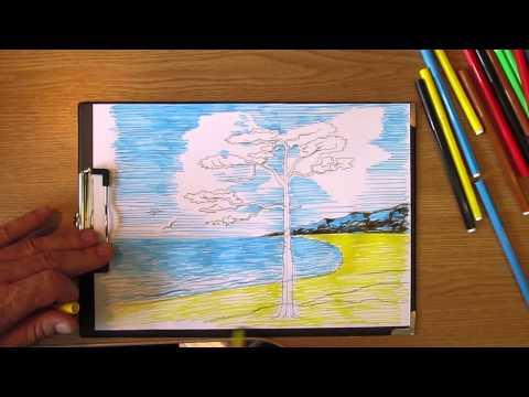Как рисовать сосну у моря. Часть 2. Урок 16.