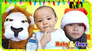 POP The Lion and 9 Months Old Baby Sing Lu Lu Skip To My Lu🎄🤣😆