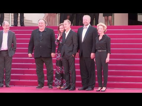 Gerard Depardieu and Isabelle Huppert attend the red carpet of Valley of Love in Cannes