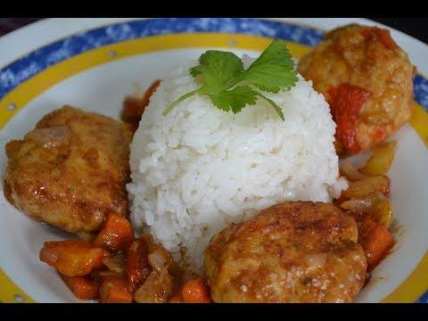 Nueva Receta: Albóndigas de Pollo con arroz Blanco.Gratis