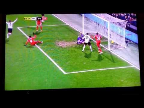 Kolo Tourè funny own goal. Liverpool vs Fulham. February 2014