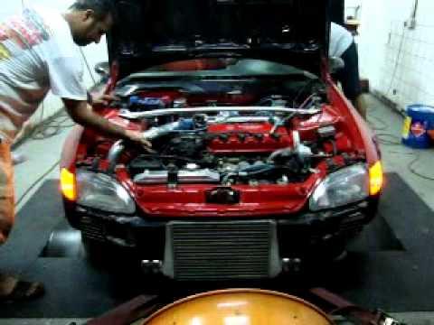 Honda civic D15 turbo in dyno - YouTube