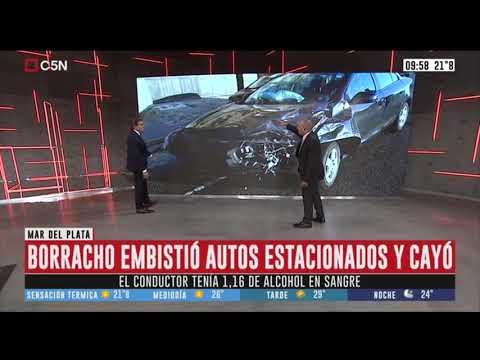 Mar del Plata: tenía 1,16 de alcohol en sangre, chocó autos estacionados y cayó al vacio