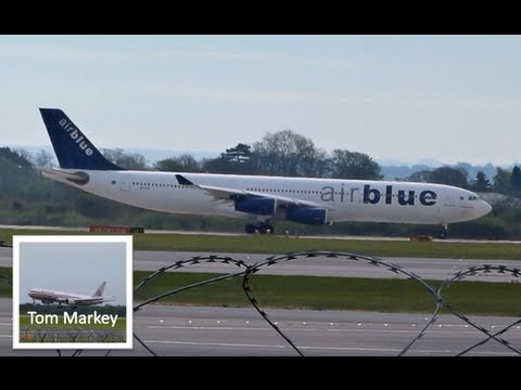 Rare Morning Departure of AirBlue a340 300 at Manchester Airport 6th May 2013