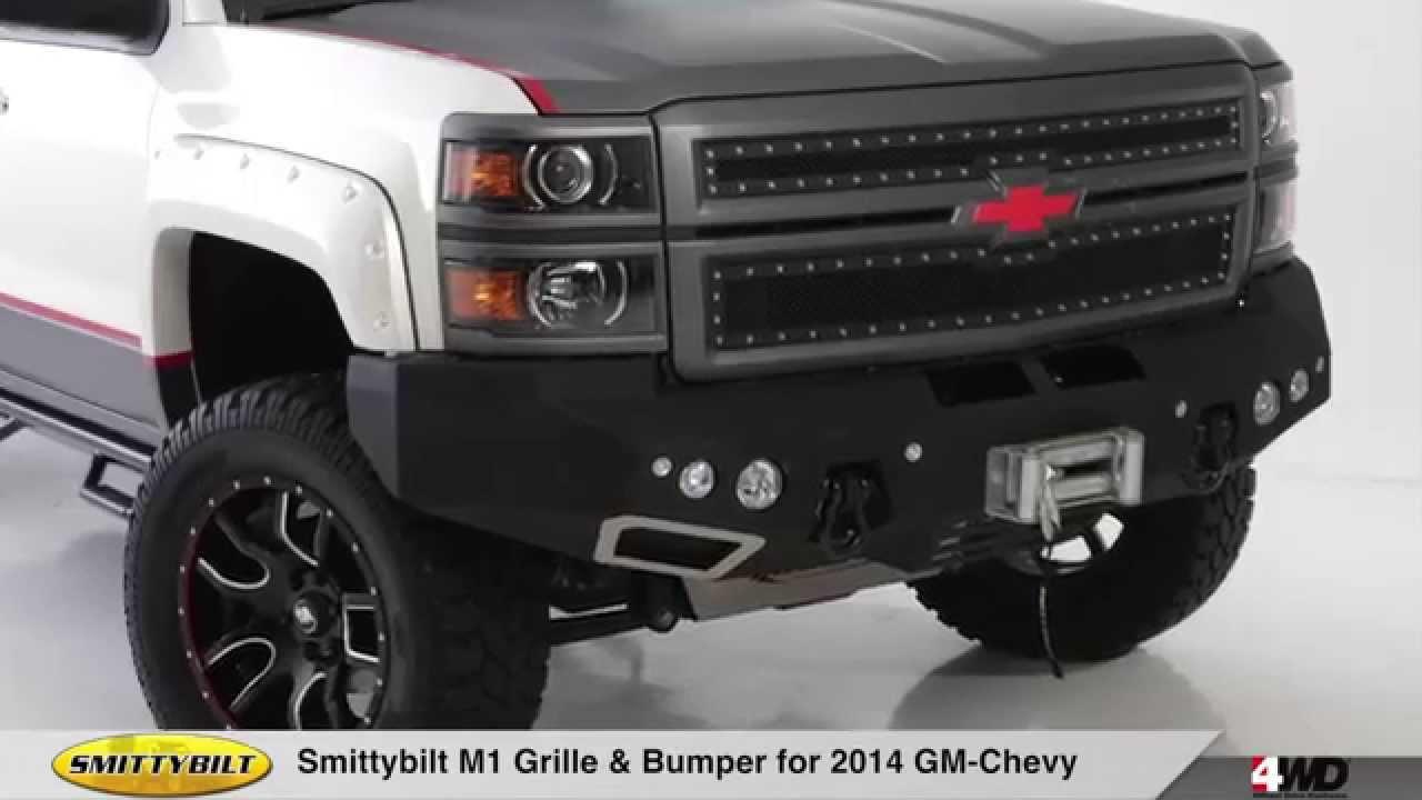 Custom Chevy Silverado Parts Smittybilt M1 Grille & Bumper for 2014 Chevy 1500 - YouTube