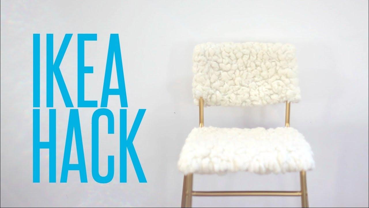 diy ikea hack tejn sheepskin stig bar stool youtube. Black Bedroom Furniture Sets. Home Design Ideas