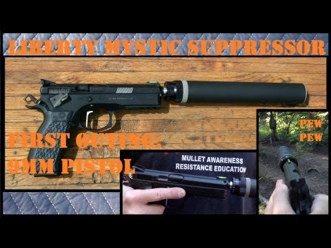 Subsonic vs Supersonic ammo w/ Suppressor = HUGE difference. Liberty Mystic silencer CZ SP-01