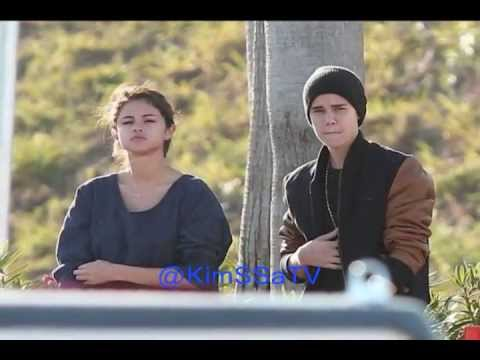 Justin Bieber visits Selena Gomez on the set of
