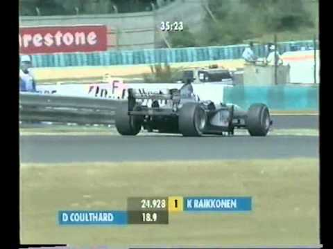 During qualifying for the 2001 Hungarian Grand Prix, Frentzen who has just driven out of the pits manages to cut across Coulthard's line 3 times in two corne...