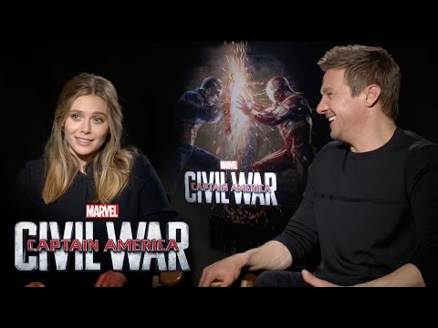 Elizabeth Olsen and Jeremy Renner on Marvel's Captain America: Civil War