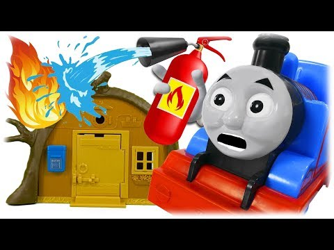 Train Thomas to the Rescue Firefighter Rescues Masha and Bear
