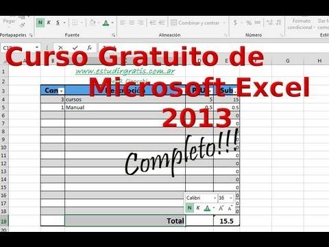 Curso completo Excel 2013 gratuito para aprender N°1