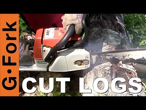 How To Cut Tree Logs With A Chainsaw : Grdenfork.tv video