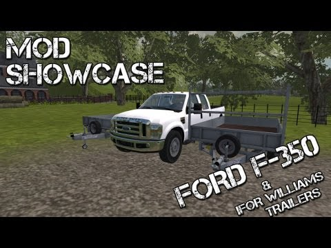Farming Simulator 2013 Mod Showcase - Ford F-350 and Ifor willains Flat Bed Trailer