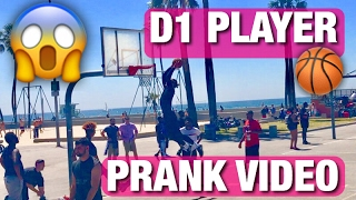 D1 BASKETBALL PLAYER PRETENDS TO BE SURFER PRANK!! DUNKING IN A WETSUIT! VENICE BEACH!