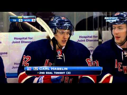 Carl Hagelin goal Feb 10 2013 Tampa Bay Lightning vs NY Rangers NHL Hockey