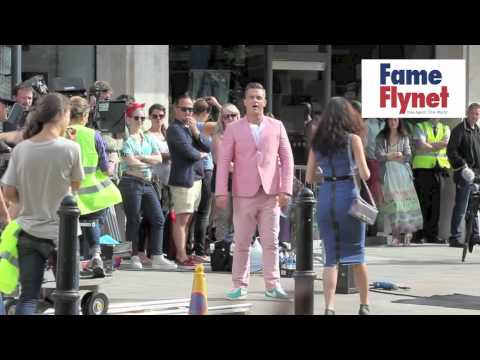 Robbie Williams filming new music video - Stunt man gets hit by car