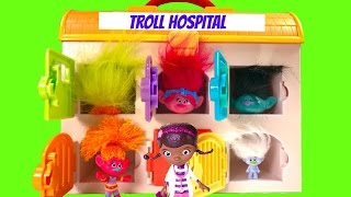 Trolls Poppy Branch Guy Diamond in the Hospital and Need Doc McStuffins Help - Toy Surprises!
