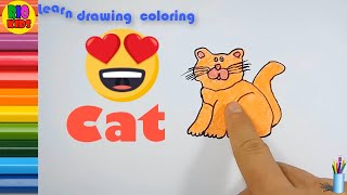 Draw and color cat | How to teach baby english | Rio Kids