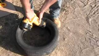 Earthship Construction, Cutting block tires