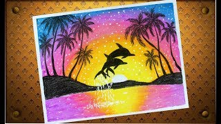 All Clip Of Dolphin Sunset Scenery Drawing Bhclip Com