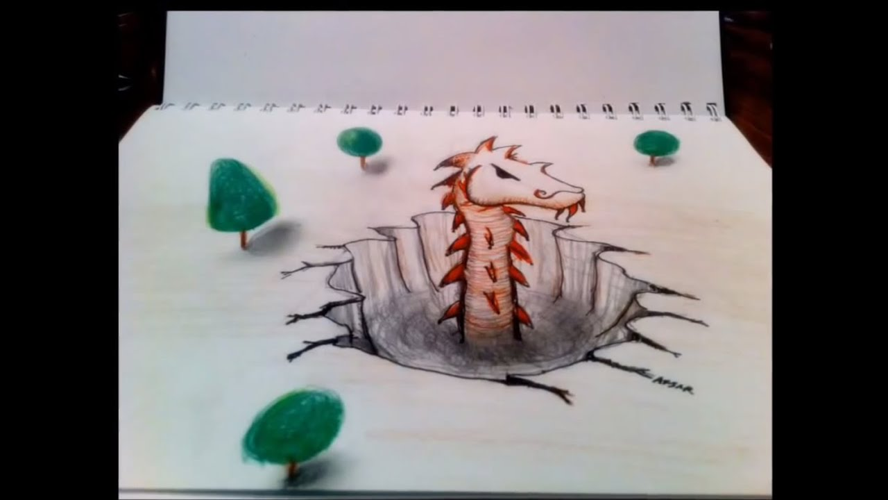 3d Anamorphic Drawing 2 With Tutorial Youtube