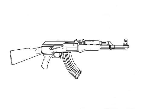 Видео как нарисовать автомат АК-47