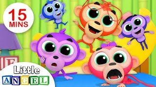 Cinco Macaquinhos Pulando na Cama, A Dona Aranha e Mais! | Vídeos Infantis | Little Angel