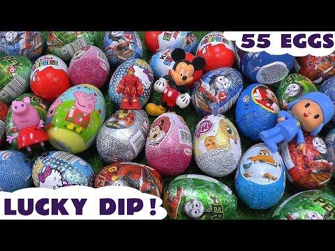 Giant 55 Surprise Egg Peppa Pig Play Doh Cars Thomas And Friends Huevos Sorpresa Toys Avengers video