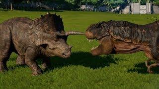 Jurassic World Evolution - Triceratops vs Tyrannosaurus Rex (1080p 60FPS)