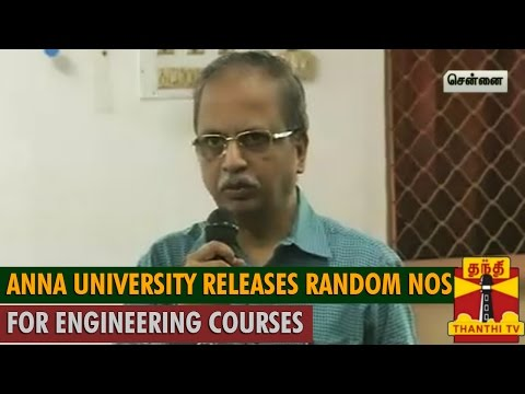 Anna University releases Random numbers for Engineering courses - Thanthi TV