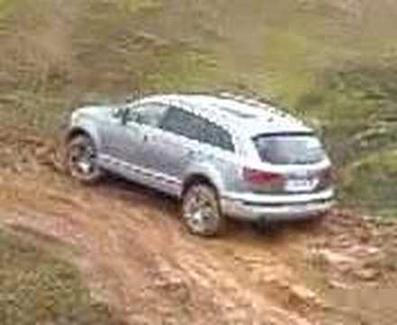 See the Q7 sliding down a 60 degree slope and then climbing up in the mud!!