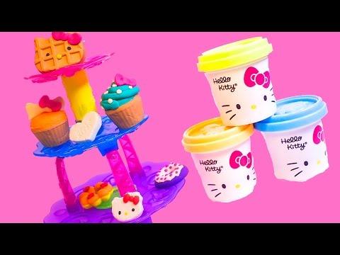 Play Doh Hello Kitty Play Doh Cupcake Tower Playdough Cupcakes Hasbro Toys ハローキティ | キャラクター