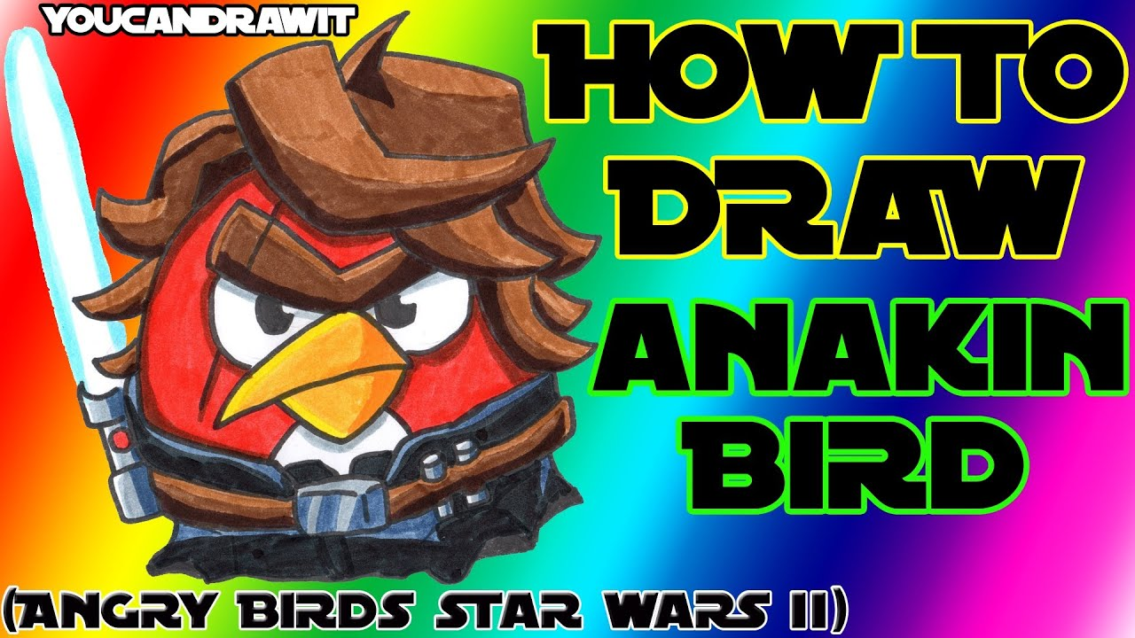 How to draw anakin skywalker bird from angry birds star - Angry birds star wars 7 ...