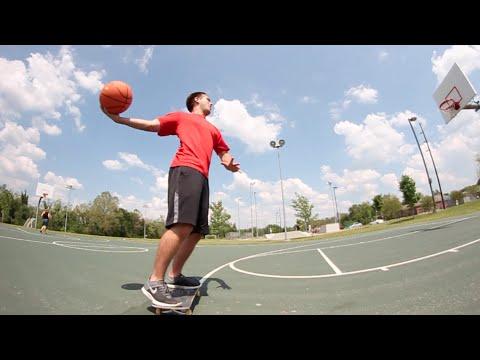 HILARIOUS Skateboarding Basketball Trick Shot!