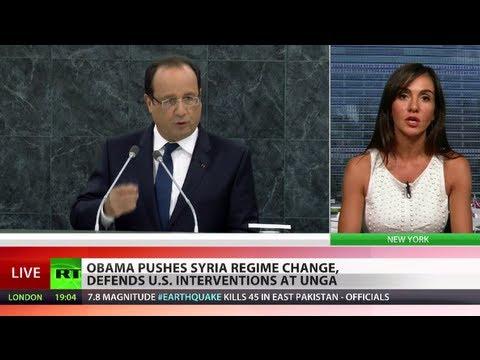 Obama, Hollande push Syria regime change, defend interventions at UNGA